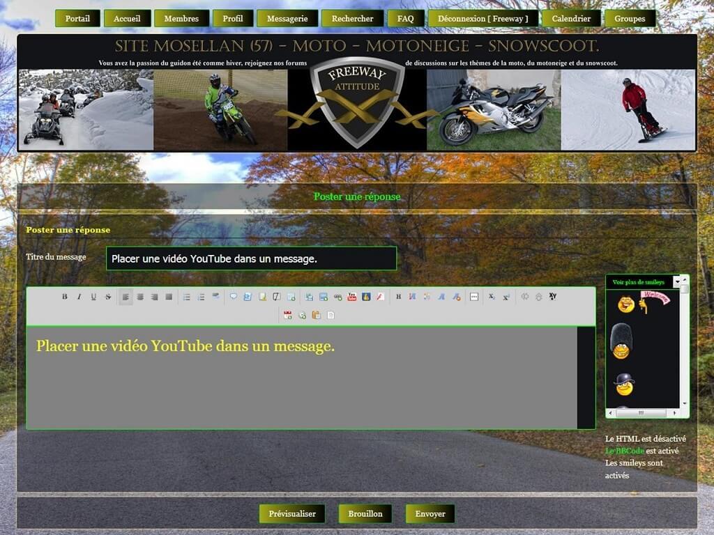 """Insérer une vidéo """"YouTube"""" dans un message. Lienvi10"""