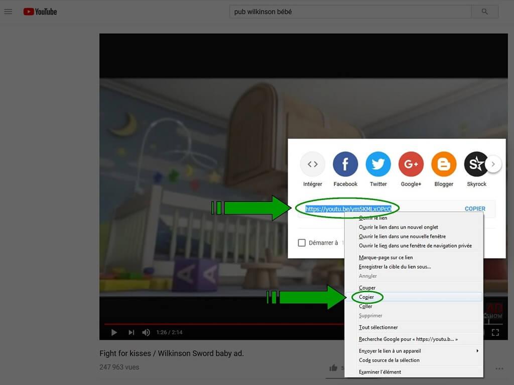 """Insérer une vidéo """"YouTube"""" dans un message. Lienvi11"""