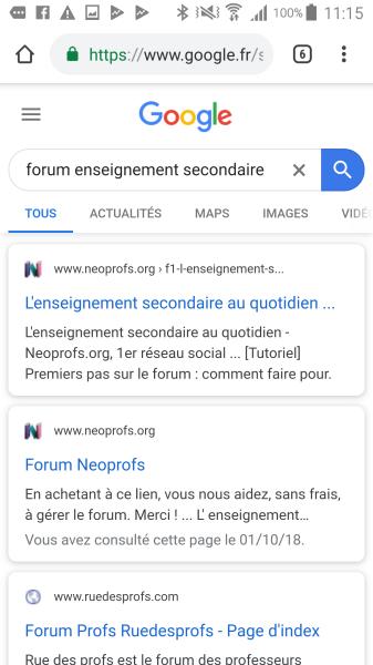La favicon du forum affichée dans Google 211