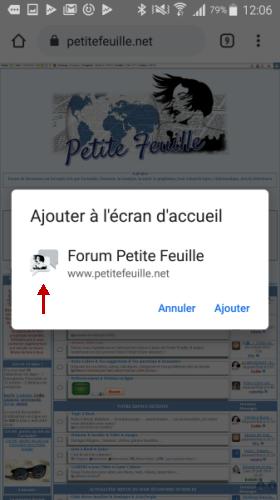 """J'ai activé mon """"Web App (PWA) mais mon nouvel icône ne s'affiche pas. Screen14"""