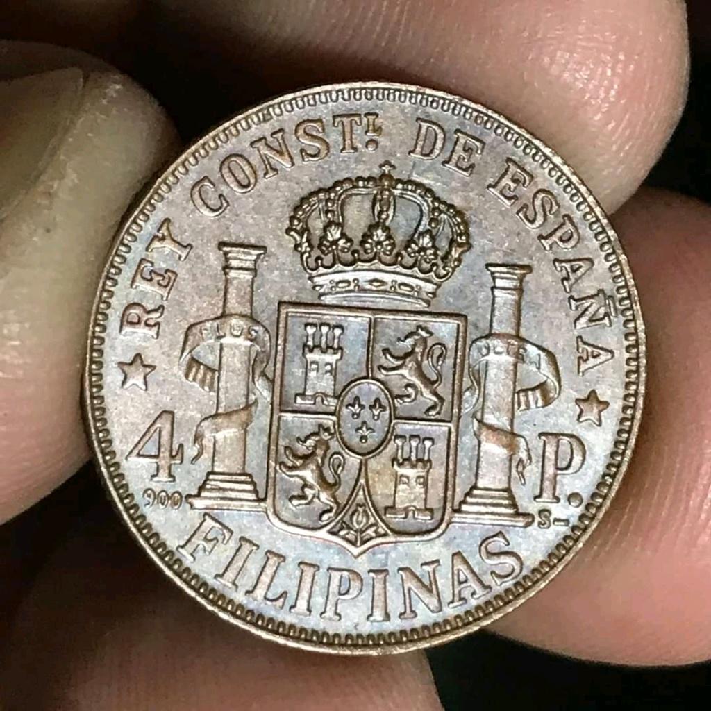4 Pesos de Alfonso XII de Filipinas 1885. Reproducción en cobre Fb_img16