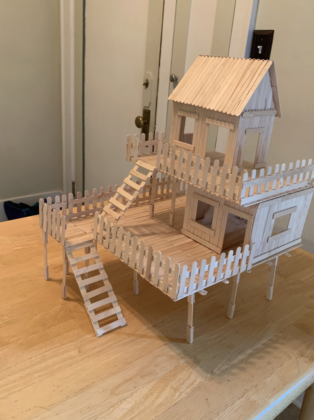 Playhouse made out of popsicle sticks Baccd810