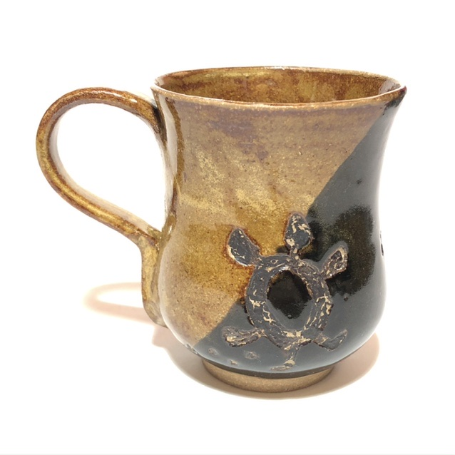Native American Indian Turtle Clan Pottery Mug Fish Tail Handle 9af78910