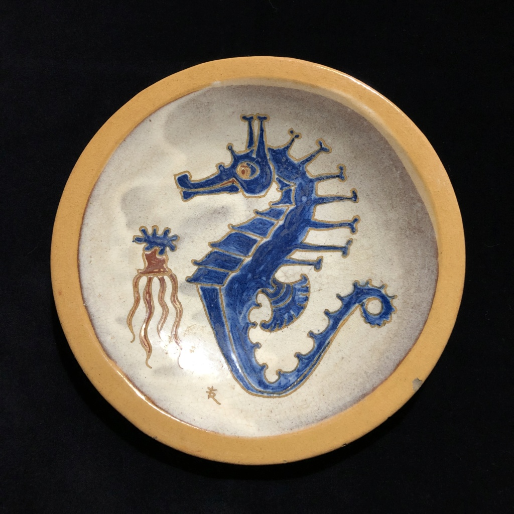 Vintage Lead Glazed Pottery Seahorse Wall Plate R with Crown or Trident ? Ae78a810