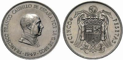 5 pesetas 1949 (*19-50). Estado Español (4ª) 55522110