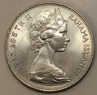 5 dólares de 1969.  Bahamas Británica. Bahama10