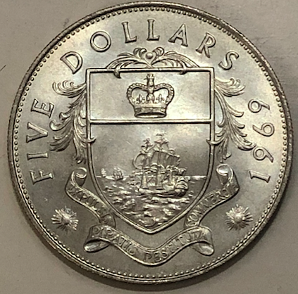 5 dólares de 1969.  Bahamas Británica. Bahama11