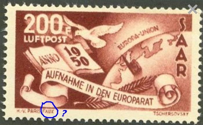 Saarland 1950,Mi#298 forged? As10