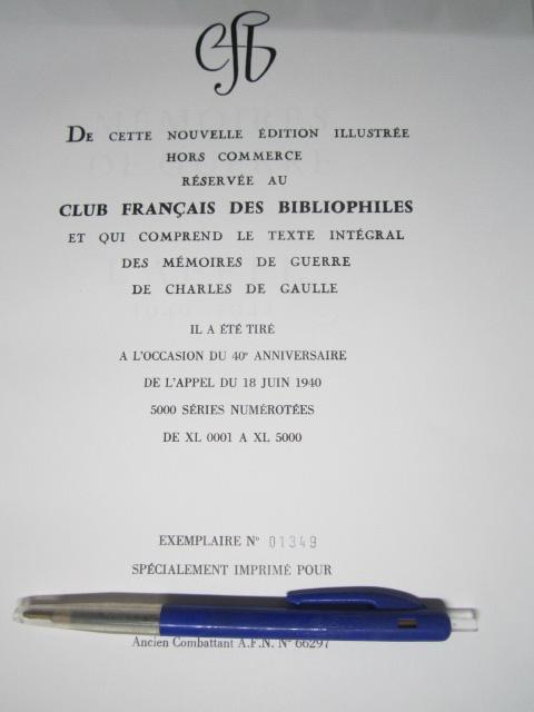 Estimation CHARLES DE GAULLE Mémoires de GUERRE hors commerce Img_3615