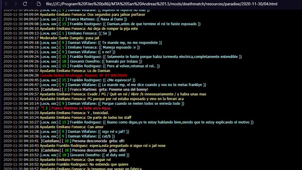 [Reporte] Dante Angelo y Emiliano Fonseca  - Abuso de moderador/Ayudante y Mal uso de jail. Logs_v16