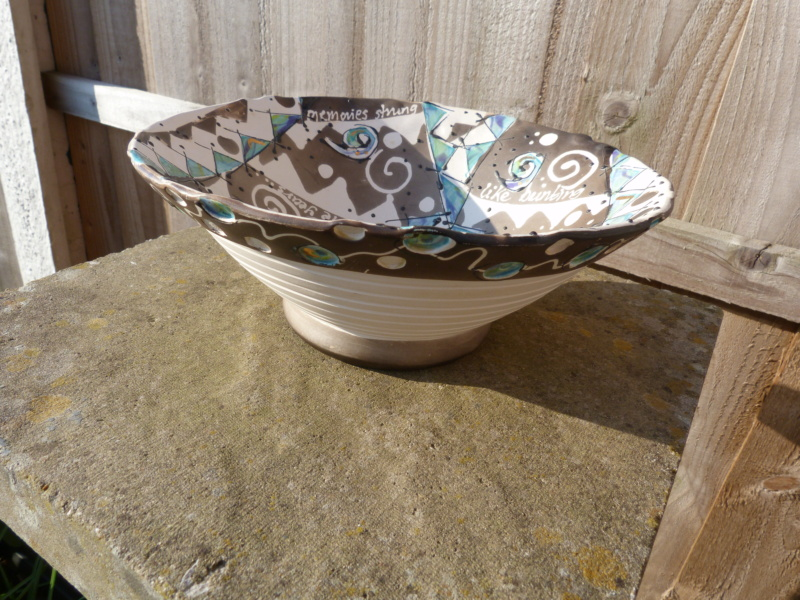 """Unusual hand made bowl with """"radical"""" decoration. Who made this?  P1120738"""