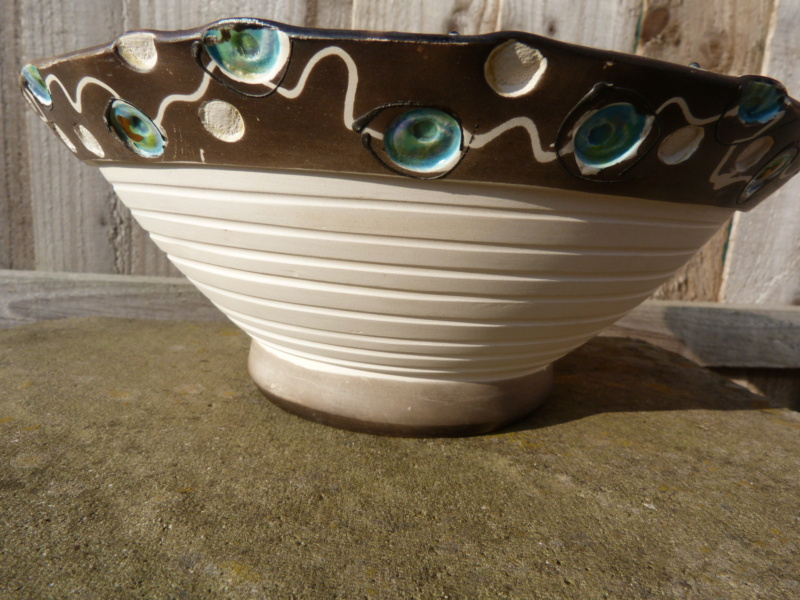 """Unusual hand made bowl with """"radical"""" decoration. Who made this?  P1120740"""