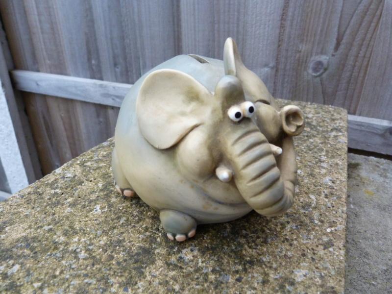 Wacky pottery elephant money box. Who made this please? P1130117