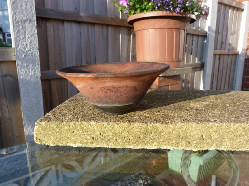 Studio Pottery bowl, copper fumed raku, MC mark - probably Margaret Curtis P1130310