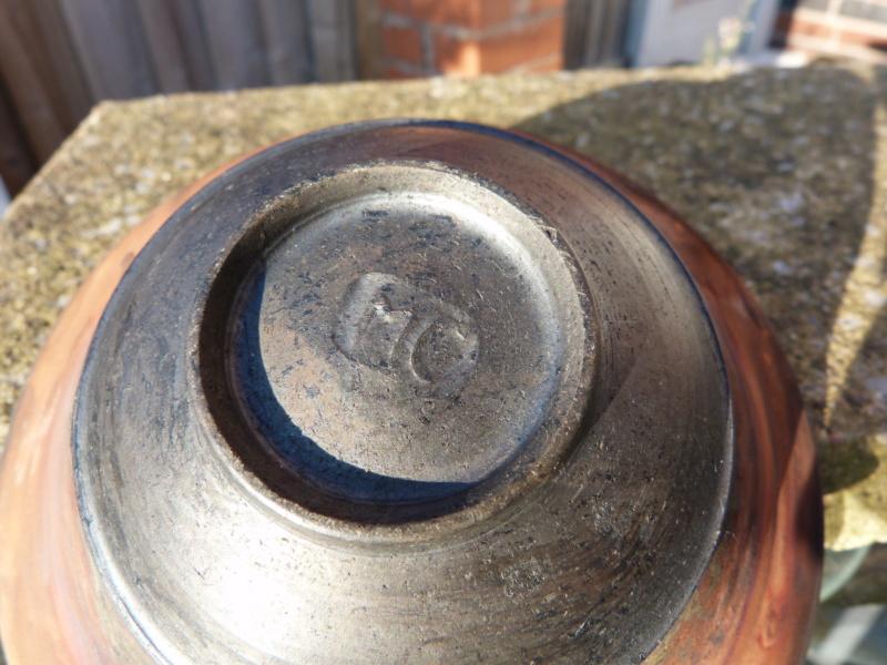 Studio Pottery bowl, copper fumed raku, MC mark - probably Margaret Curtis P1130311