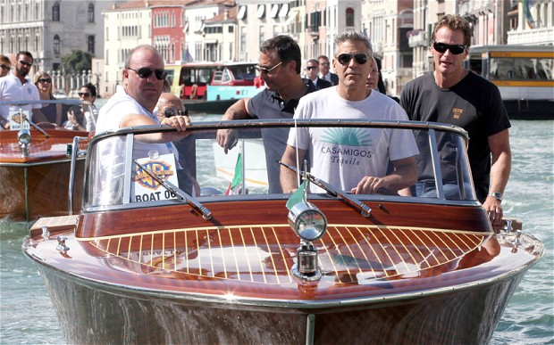 George Clooney in trouble for driving boat in Venice without a licence Cloone13