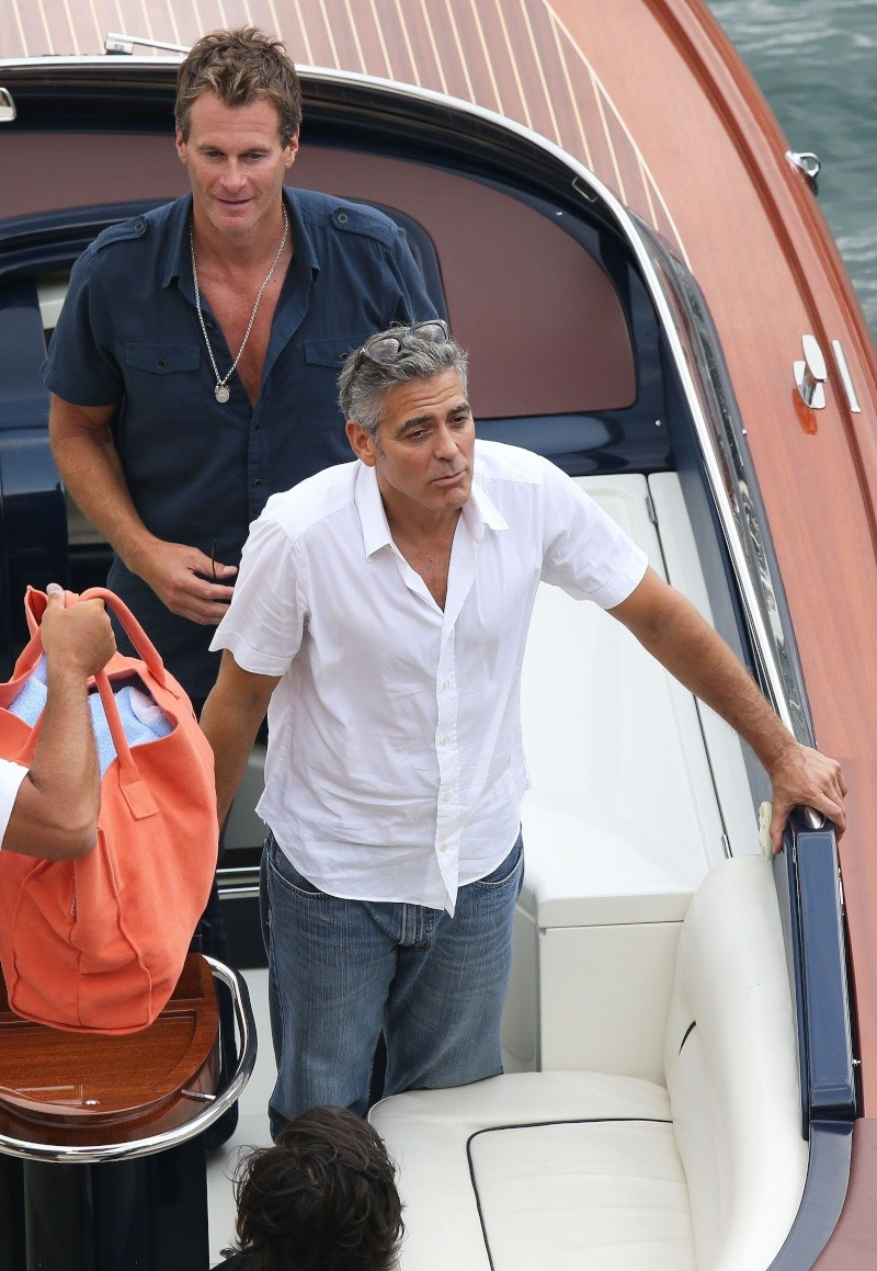 George Clooney on a yacht in St Tropez with Bono and Rande Gerber Cloone17