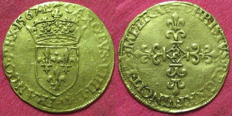 Ecu d'or, au soleil 1er type, Charles IX, Villeneuve St Andre les Avignon 00112