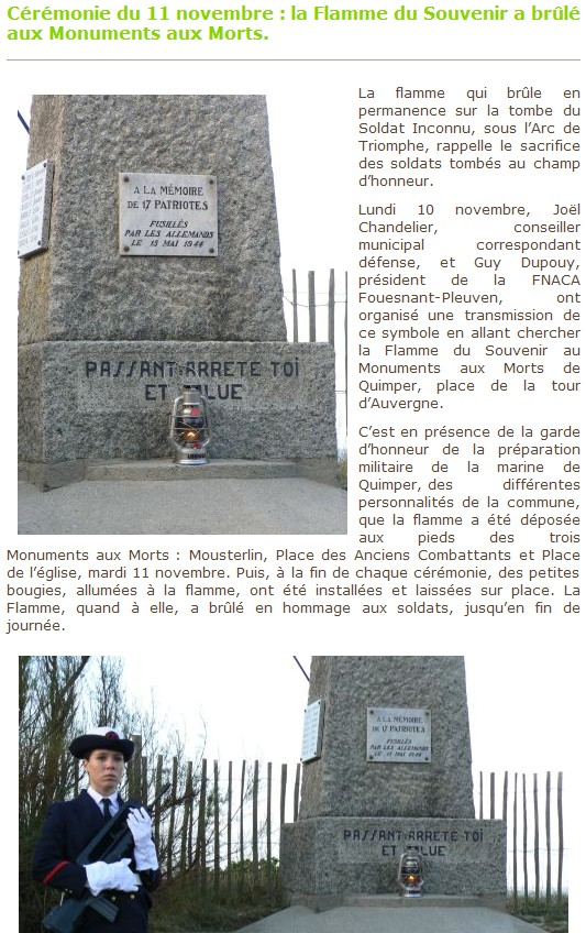 Arrivée de la flamme du souvenir à Quimper et transmission à Fouesnant 247_ce10