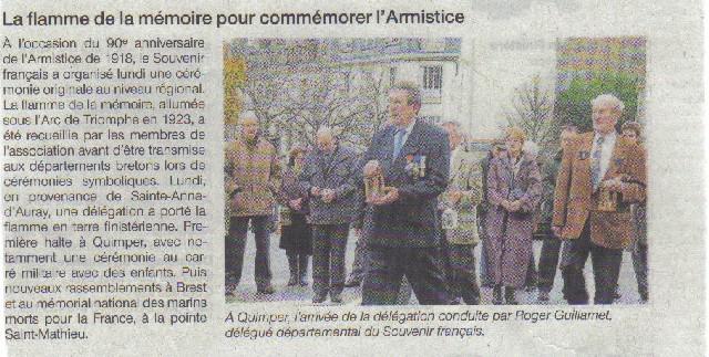 Arrivée de la flamme du souvenir à Quimper et transmission à Fouesnant 8_arri10