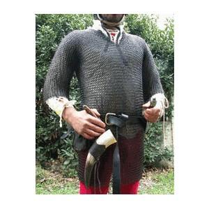A vendre cotte de maille et camail a ventail acier brut noir huilé XL Hauber10
