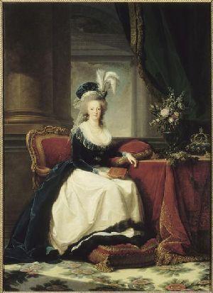 Marie-Antoinette au livre en robe bleue 57197510