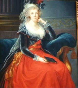 Marie-Antoinette au livre en robe bleue Vlbque10