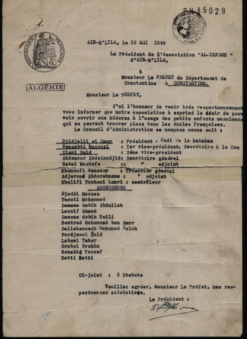 Demande d'autorisation de création de la Médersa el irfane Pv110