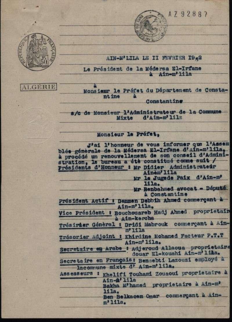 Demande d'autorisation de création de la Médersa el irfane Pv2-re10