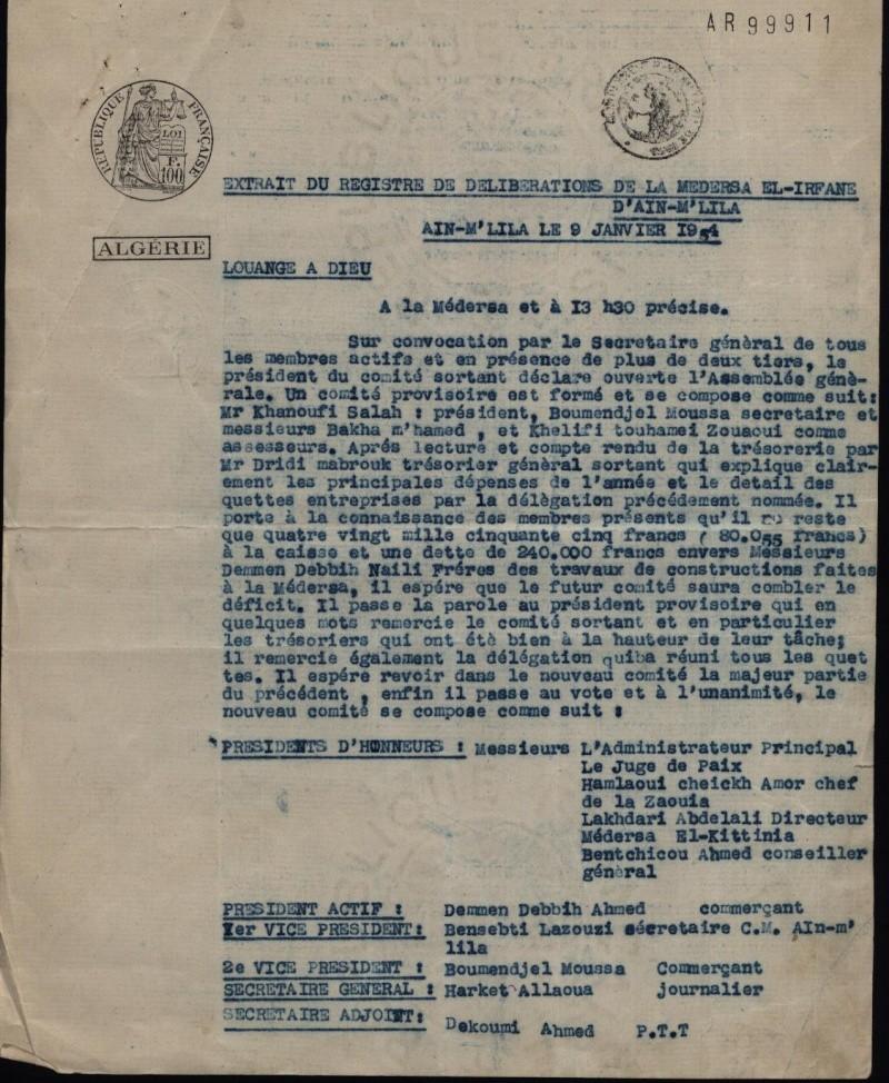 Demande d'autorisation de création de la Médersa el irfane Pv3-re10