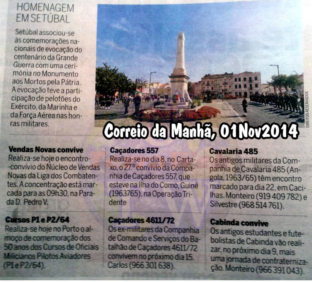 Encontros Convívios de ex-Militares Portugueses, in Correio da Manhã, de 01Nov2014 Encont10