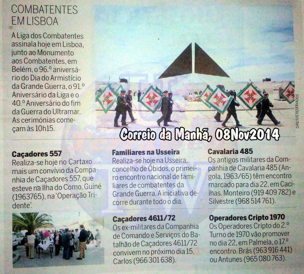 Encontros Convívios de ex-Militares Portugueses, in Correio da Manhã, de 08Nov2014 Encont11
