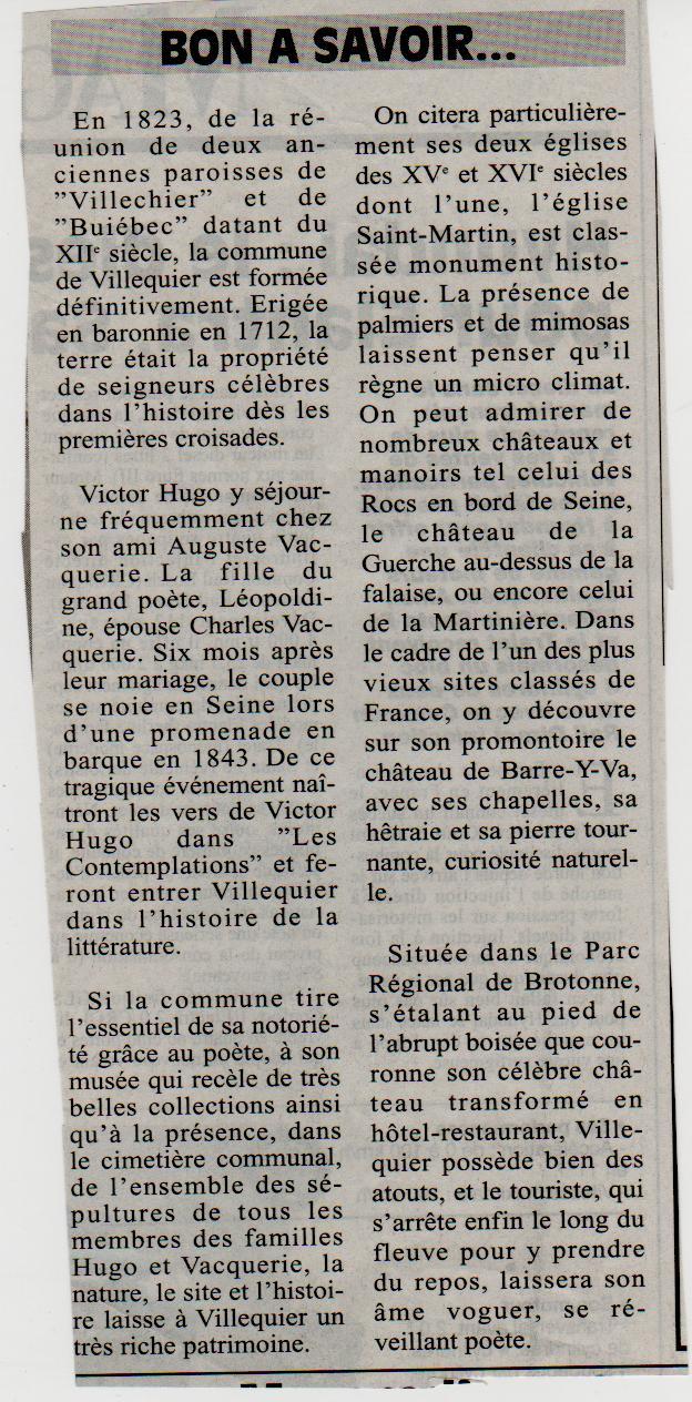 Histoire des communes - Villequier Villeq12
