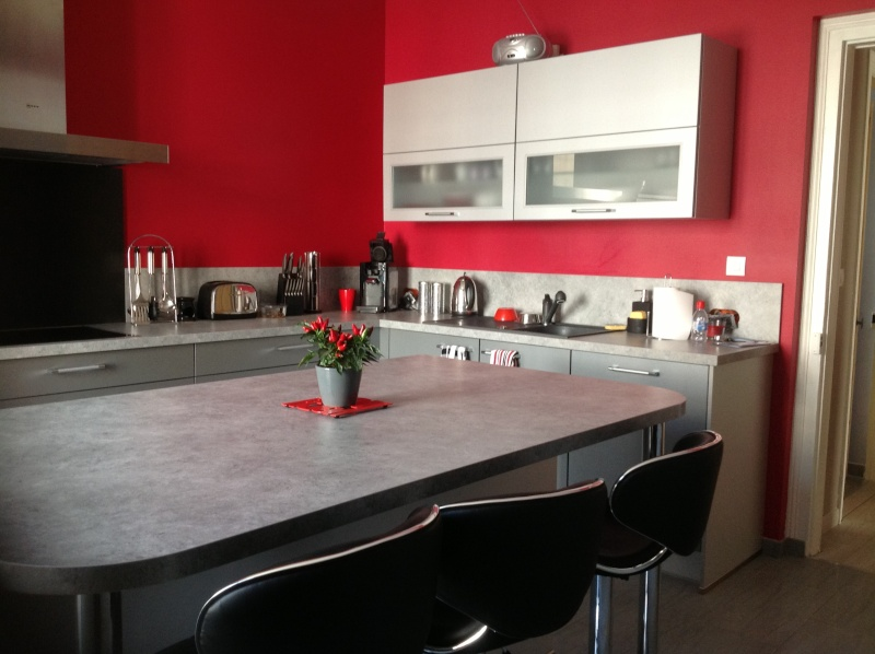 Beautiful Cuisine Blanche Mur Gris Et Rouge Idees - Photos et idées ...