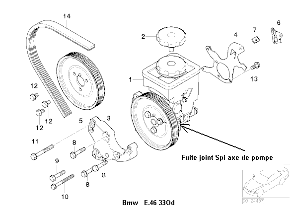 [ BMW e46 330d 204cv an 2003 ] fuite pompe de servo-direction 32_e_410