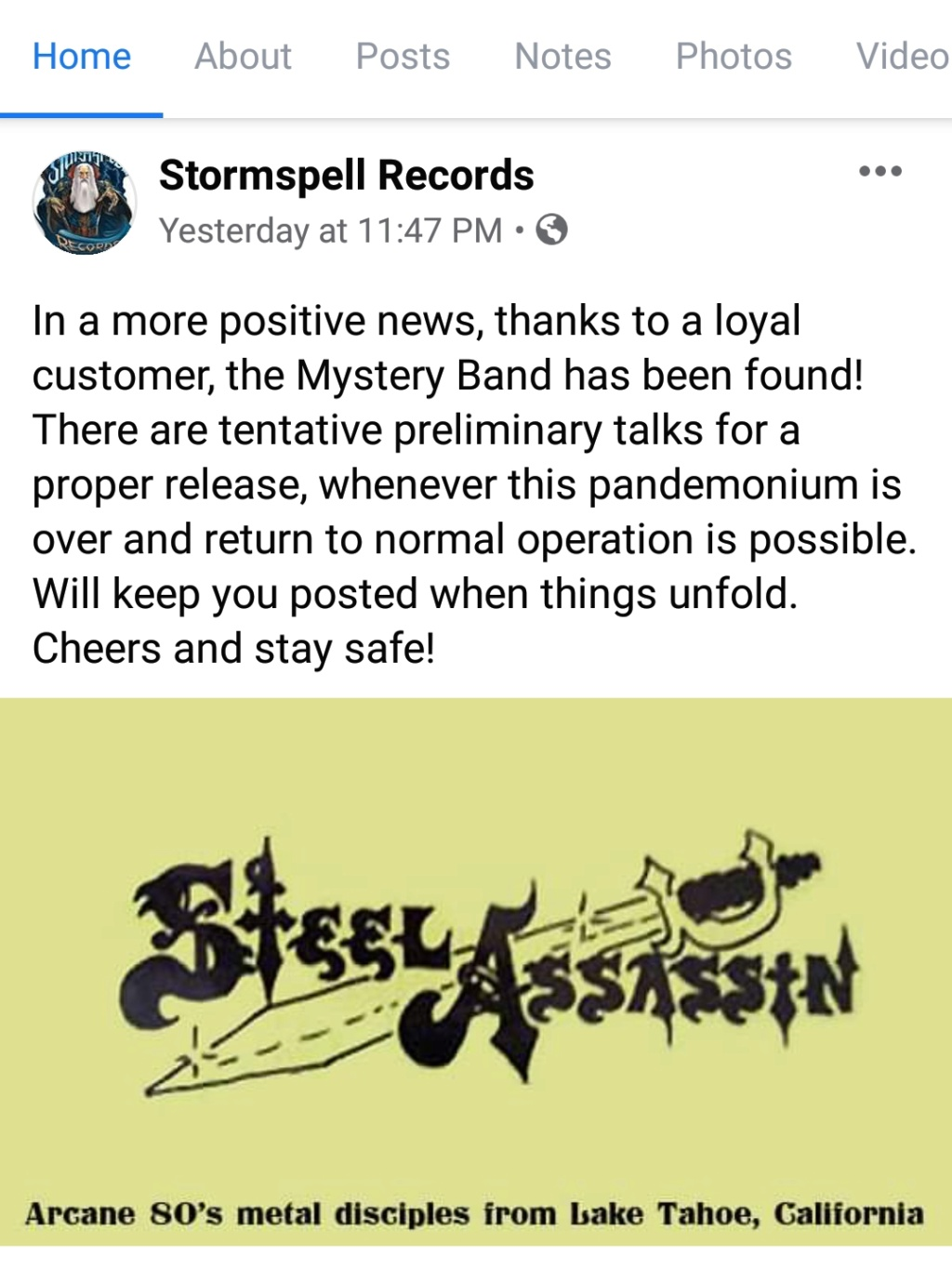 """Steel Assassin,"" aka the Stormspell ""Mystery Band"" 20200310"