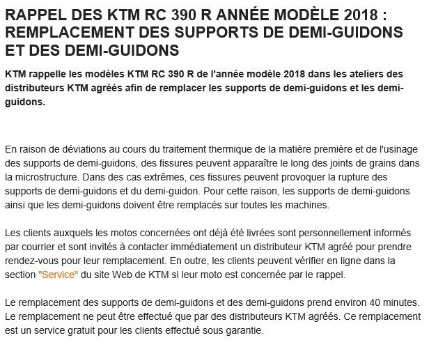 [RAPPEL] KTM RC390 2018 RETOUR SAV Rappel10