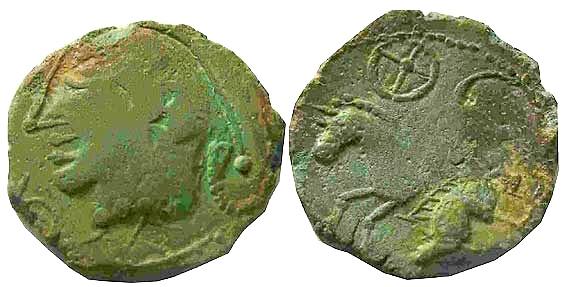 oeuvre d'art moderne inspirée de la numismatique arvenne (faux en étain) Gauloi10
