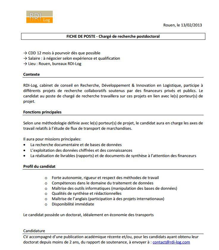 ROUEN - poste de chargé de recherche postdoctoral (CDD 12 mois) D10