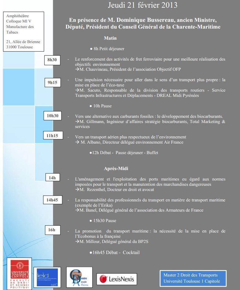 21 février 2013 - TOULOUSE - Le contexte environnemental du transport de marchandises E310