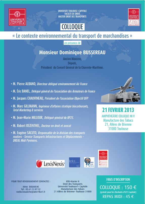 21 février 2013 - TOULOUSE - Le contexte environnemental du transport de marchandises E410