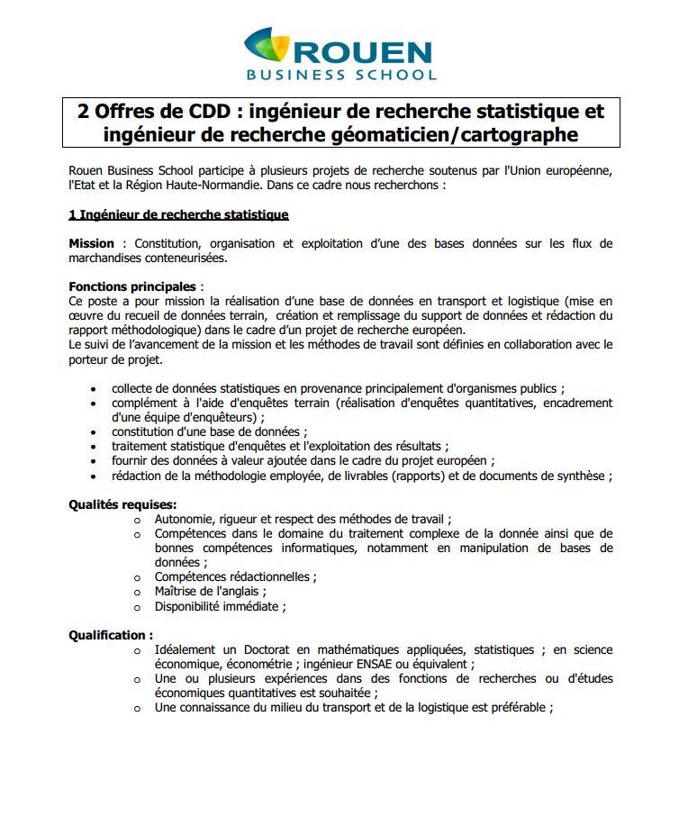 ROUEN -  ingénieur de recherche statistique et ingénieur de recherche géomaticien/cartographe Rouen111