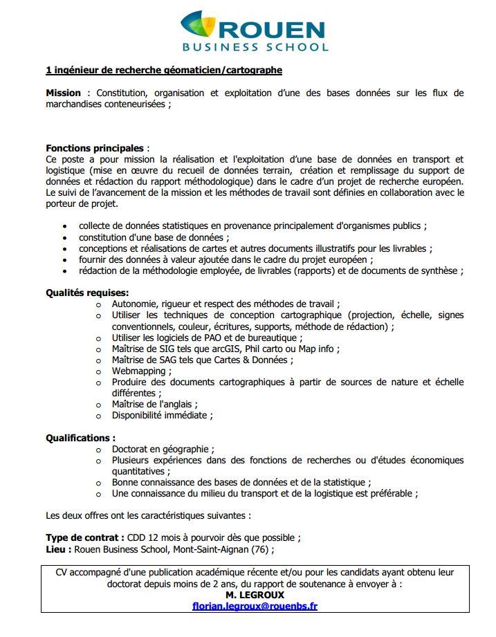 ROUEN -  ingénieur de recherche statistique et ingénieur de recherche géomaticien/cartographe Rouen210