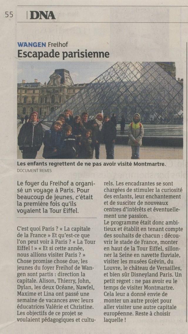 Une semaine à Paris pour un groupe de jeunes du Freihof à Wangen  Image113