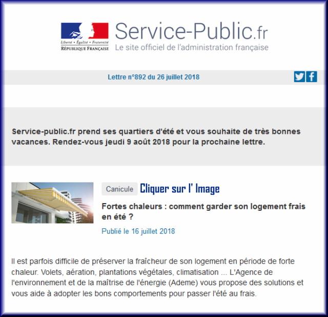 """La lettre N° 892 de """"Service Public"""" pour le 26 Juillet 2018 89210"""