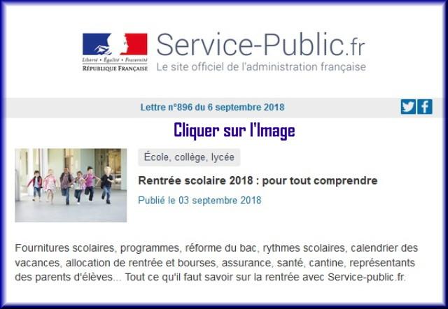 """La lettre N° 896 de """"Service Public"""" pour le 06 Septembre 2018 89610"""
