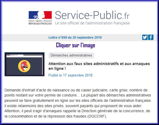 """La lettre N° 898 de """"Service Public"""" pour le 20 Septembre 2018 89810"""
