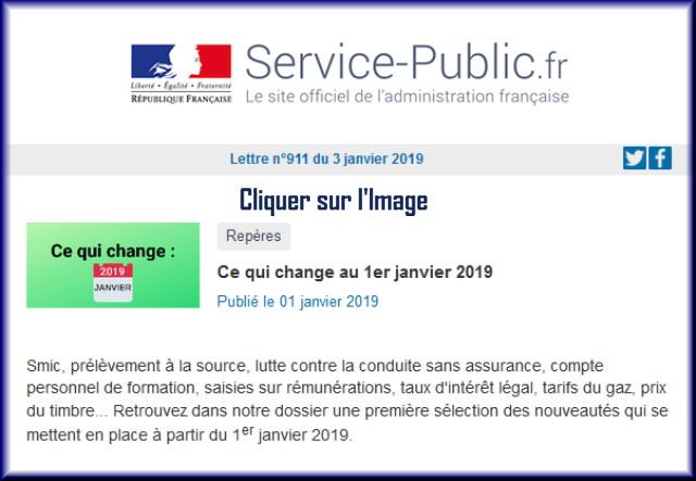 """La lettre N° 911 de """"Service Public"""" pour le 03 Janvier 2019 91110"""