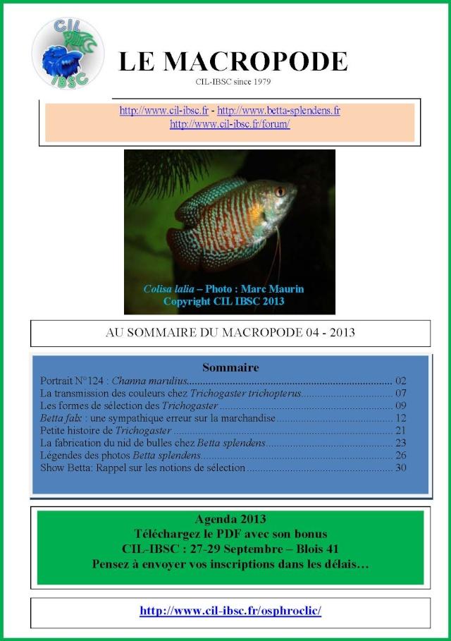 Sommaire de la revue du Macropode. 2013-010