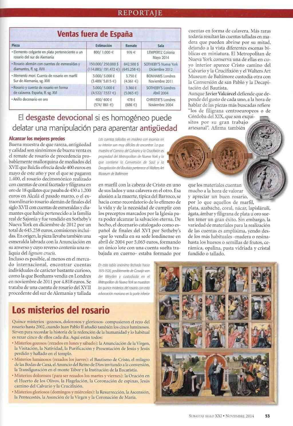 REPORTAJE SOBRE ROSARIOS EN REVISTA SIGLO XXI - SUBASTAS - NOVIEMBRE 2014 Rosari17